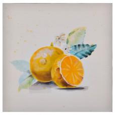 Cuadro Naranjas Amarillo / Blanco 30 x 30 cm