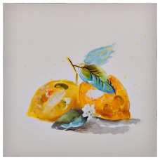 Cuadro Limones Amarillo / Blanco 30 x 30 cm