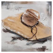 Cuadro Sombrero de paja Natural / Blanco 60 x 60 cm