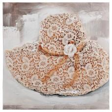Cuadro Sombrero Bordado Beige / Blanco 60 x 60 cm
