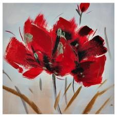 Cuadro Flor Rojo / Dorado 30 x 30 cm