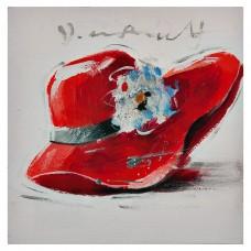Cuadro Sombrero Rojo / Blanco / Azul 30 x 30 cm