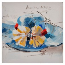 Cuadro Sombrero Azul / Blanco / Amarillo 30 x 30 cm
