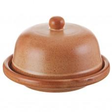 Quesera con tapa de cerámica vitrificada Tabacco Natural De Silva Ceramiche