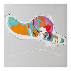 Cuadro Sombrero Gris / Multicolor 40 x 40 cm