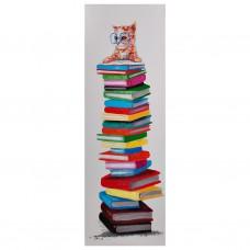 Cuadro Gato con libros 120 x 40 cm