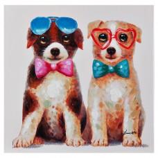Cuadro Perros con lentes multicolor