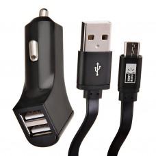 Cargador para auto 2 puertos USB con cable Micro USB Case Logic
