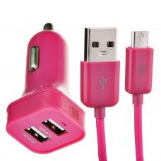 Cargador para auto 2 puertos USB con cable Micro USB Rosa Case Logic