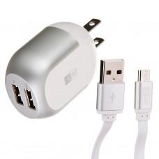 Cargador para pared con 2 puertos USB y cable Micro USB Case Logic