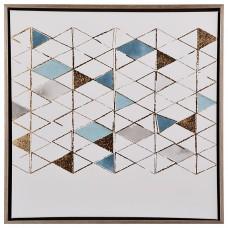 Cuadro con marco Triángulos Dorado / Celeste