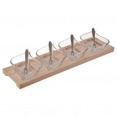 Juego de 9 piezas pozuelos para postre con tenedores y base Novo
