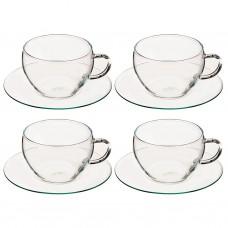 Juego de tazas y platos para capuccino Clear Simax Bohemia Cristal