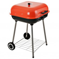 BBQ a carbón con tapa y ruedas Naranja
