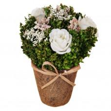 Mini arreglo floral con maceta Rosas Blanco