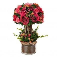 Arreglo floral con maceta de vidrio Rosas