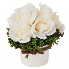 Arreglo floral pequeño con maceta Rosas Blanco