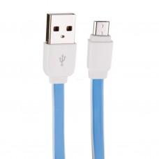 Cable plano Micro USB Azul