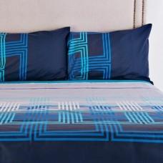 Juego de sábanas Cuadros Celeste / Azul Mihos