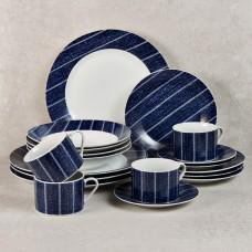 Vajilla de 20 piezas para 4 puestos Líneas Azul Haus