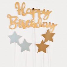 Letrero para torta Happy Birthday con estrellas