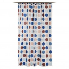 Cortina para baño con ganchos Círculos Celeste / Azul
