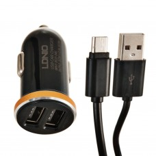 Cargador para auto 2 USB 2.1A con cable micro USB DL-C22 LDNIO