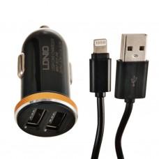 Cargador para auto 2 USB 2.1A con cable Lightning DL-C22 LDNIO
