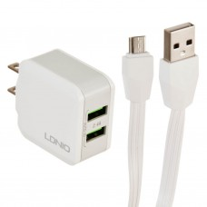 Cargador para pared con cable micro USB 2 USB / 2.4A A2201 LDNIO