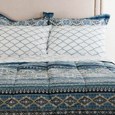 Juego de edredón, sábanas, faldón y fundas para almohadas Blue Denin Raya Elite Home