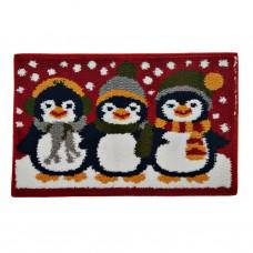 Alfombra con antideslizante para baño Navidad Pingüinos Emmevi