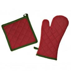 Juego de guante y agarrador Rojo / Verde Holly Leaves 100% algodón Haus
