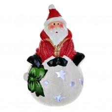 Adorno Santa en bola de nieve con luz LED