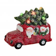 Adorno Santa / Hombre de Nieve en camión y árbol con luces LED