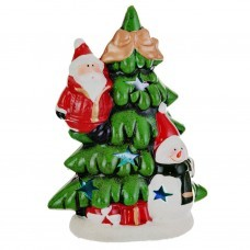 Adorno Santa / Hombre de Nieve en árbol con luces LED