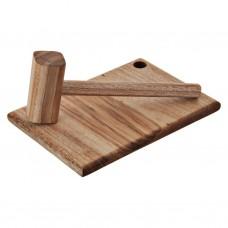 Tabla con mazo para cangrejo de madera natural