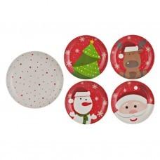 Juego de platos postre y plato tendido 5 piezas Navidad Corona