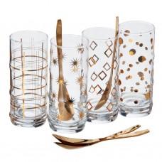 Juego de vasos para postre con cucharas 8 piezas Novo