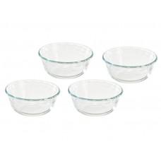 Juego de 4 moldes para flan vidrio Pyrex