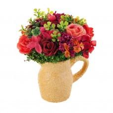 Mini arreglo floral con base Fucsia / Salmón