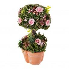 Mini arreglo floral rosas con base de ladrillo