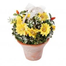 Mini arreglo floral Margarita Amarillo con base de ladrillo