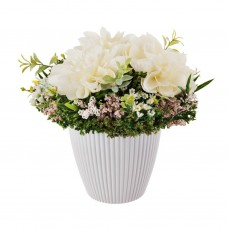 Arreglo floral Beige con base de resina