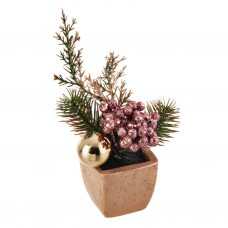 Mini arreglo floral Navideño Verde / Rosa con maceta