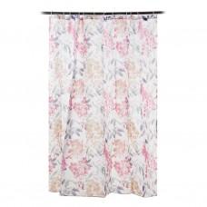 Cortina para baño con 12 ganchos Flores Multicolor Novo