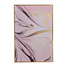 Cuadro con marco Abstracto Rosado / Negro / Dorado