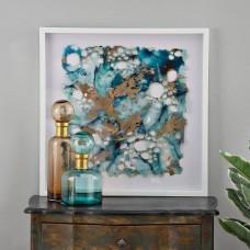 Cuadro con marco blanco Abstracto Turquesa / Dorado