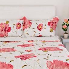Juego de cubrecama Quilt Flores Rosa Haus
