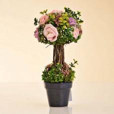 Arreglo Topiario Flores Mini con maceta