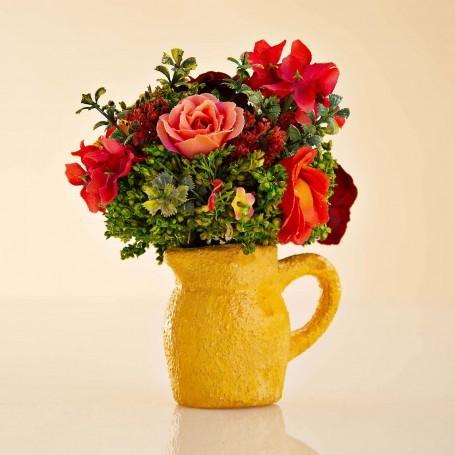 Arreglo Floral Mini Naranja con jarro de barro